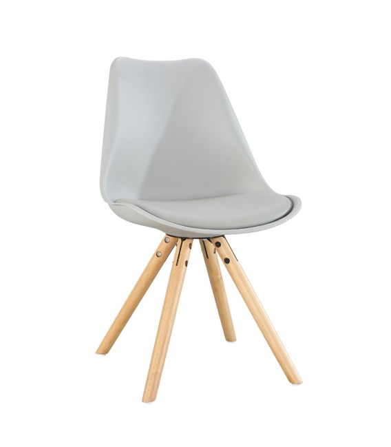 SCANDINAVIAN GREY CHAIR WITH WOOD LEGS