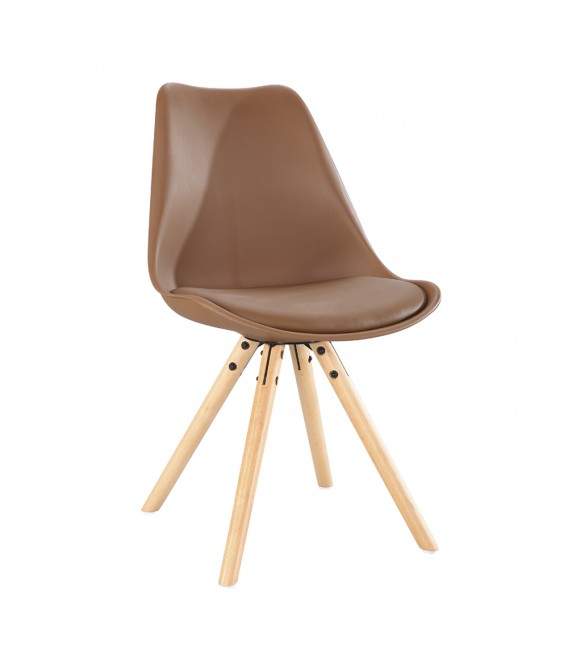 SCANDINAVIAN CHOCOLATE CHAIR WITH WOOD LEGS