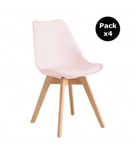PACK X4 SCANDINAVIAN PINK CHAIR WITH WOOD LEGS