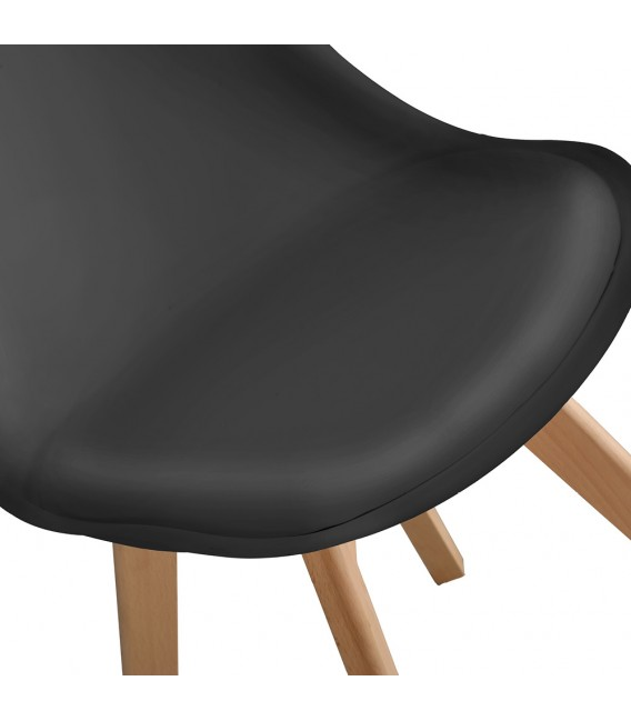 PACK X2 SCANDINAVIAN BLACK CHAIR WITH WOOD LEGS
