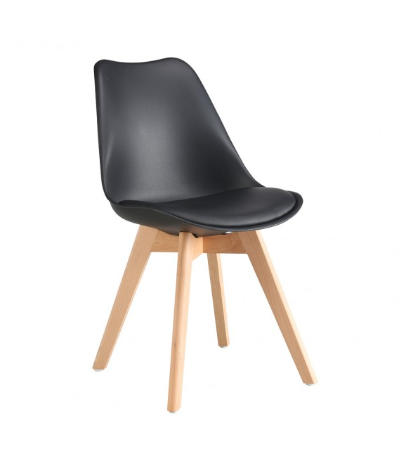 PACK X4 SCANDINAVIAN BLACK CHAIR WITH WOOD LEGS