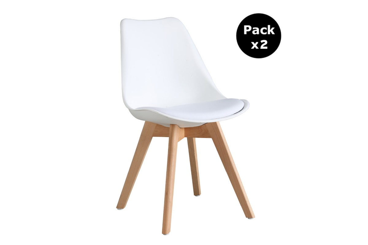 PACK X2 SCANDINAVIAN WHITE CHAIR WITH WOOD LEGS