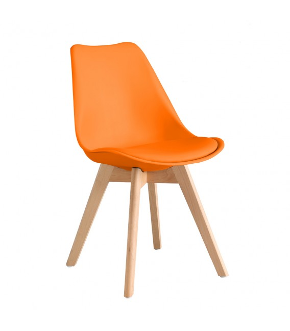 PACK X2 SCANDINAVIAN ORANGE CHAIR WITH WOOD LEGS
