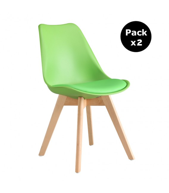 PACK X2 SCANDINAVIAN GREEN CHAIR WITH WOOD LEGS