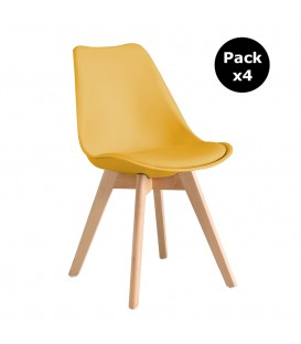 PACK X4 SCANDINAVIAN MUSTARD CHAIR WITH WOOD LEGS