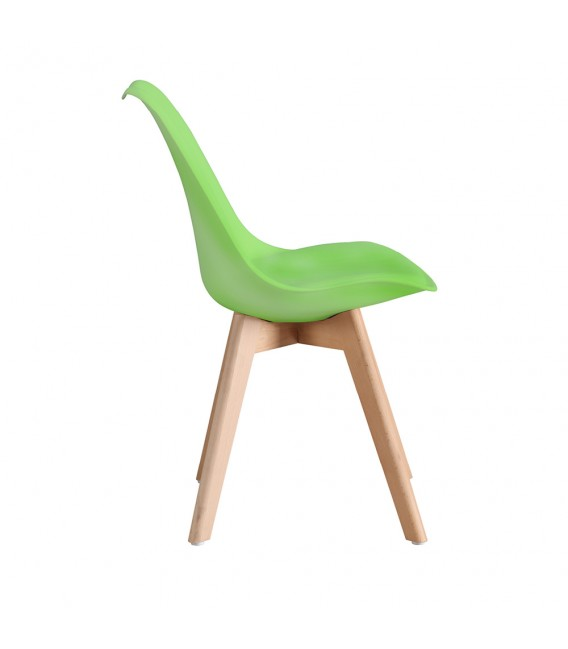 SCANDINAVIAN GREEN CHAIR WITH WOOD LEGS