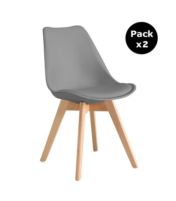 PACK X2 SCANDINAVIAN DARK GREY CHAIR WITH WOOD LEGS