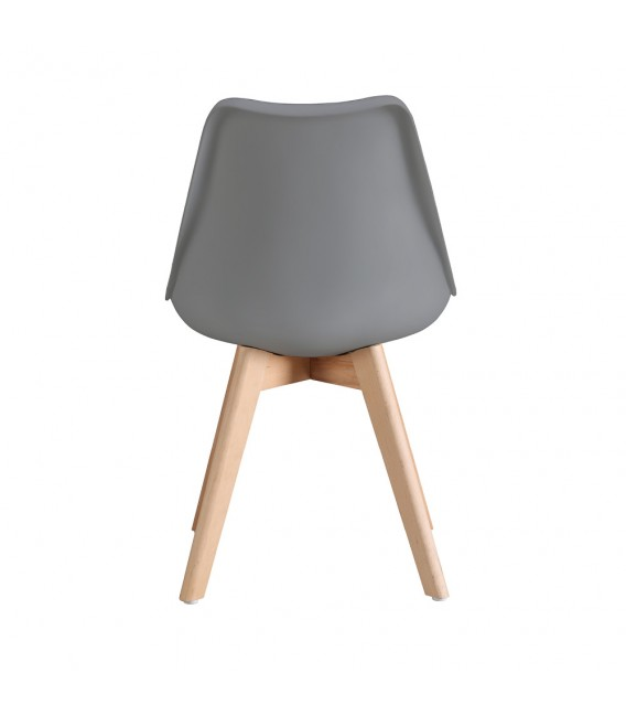 PACK X4 SCANDINAVIAN DARK GREY CHAIR WITH WOOD LEGS