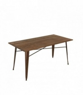 MOSKVA RUSTY WOOD 120x80 Table -Dark brown Inspiración Tolix de Xavier Pauchard