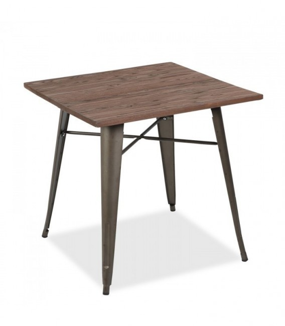 MOSKVA RUSTY WOOD 80x80 Table -Dark brown Inspiración TOLIX de Xavier Pauchard