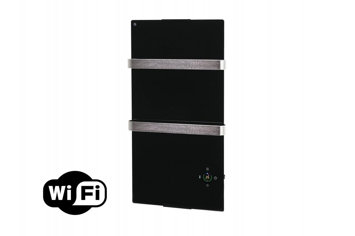 Panneau en verre de serviette chauffant électrique avec thermostat et contrôleur Wifi d'application