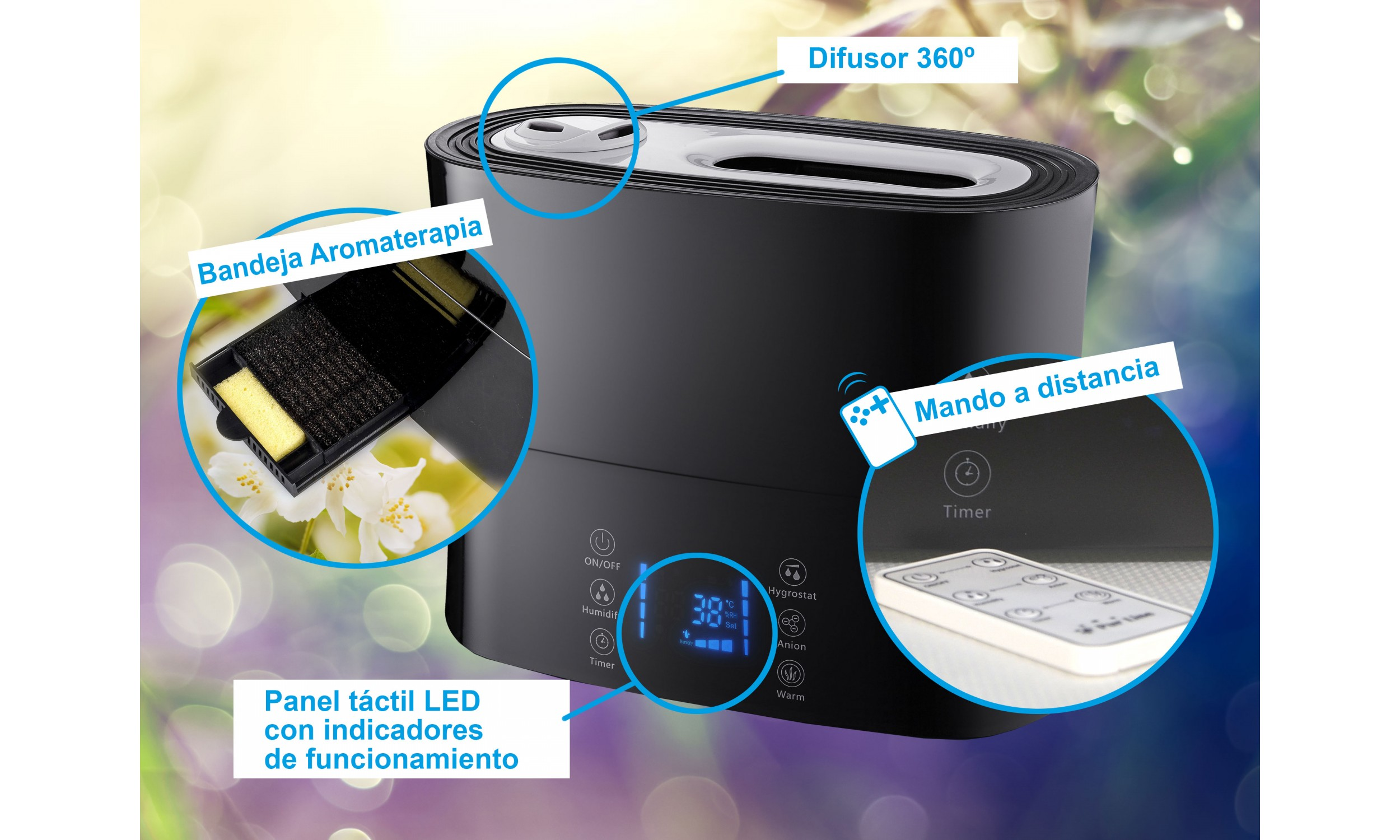 Ultrasonic humidifier with cold and warm air HYDRO 14