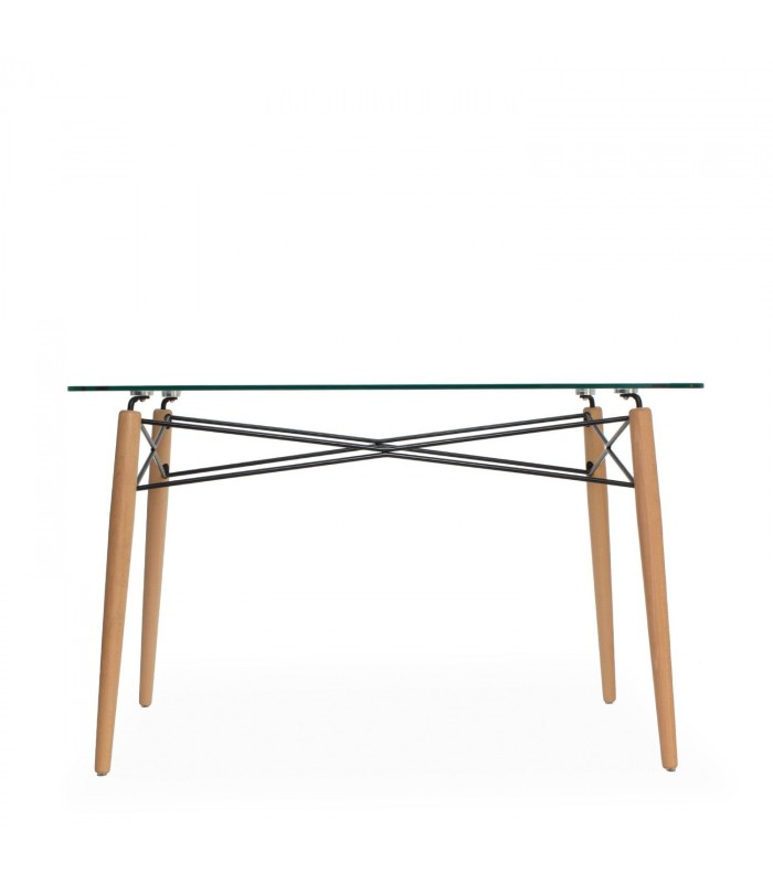 TOWER WOOD & GLASS Table -Transparent glass- -Clear glass