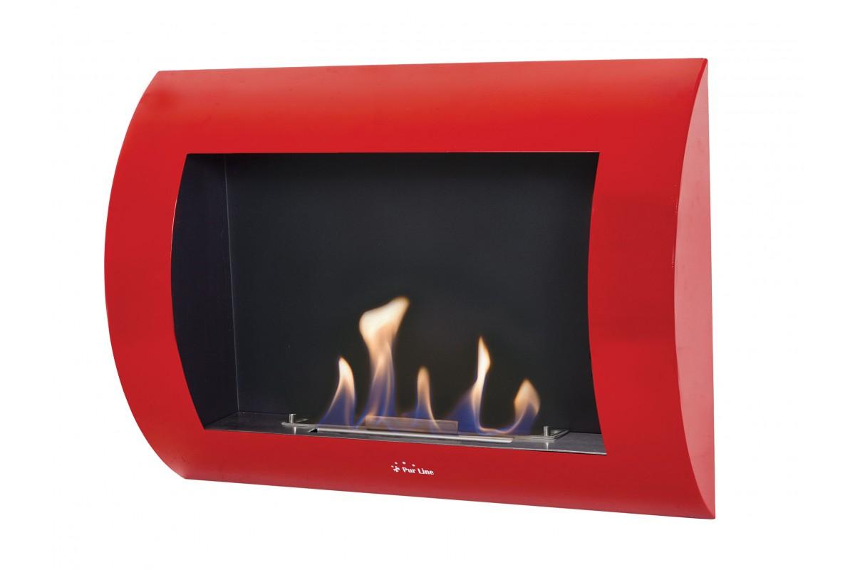 Bio-Kamin mit roter gewölbter Front INOX-CLASIC R
