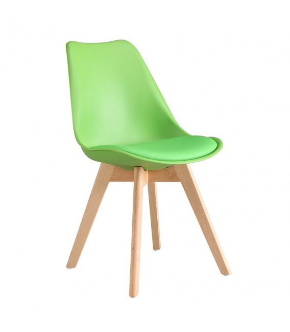 SCANDINAVIAN WHITE CHAIR WITH WOOD LEGS