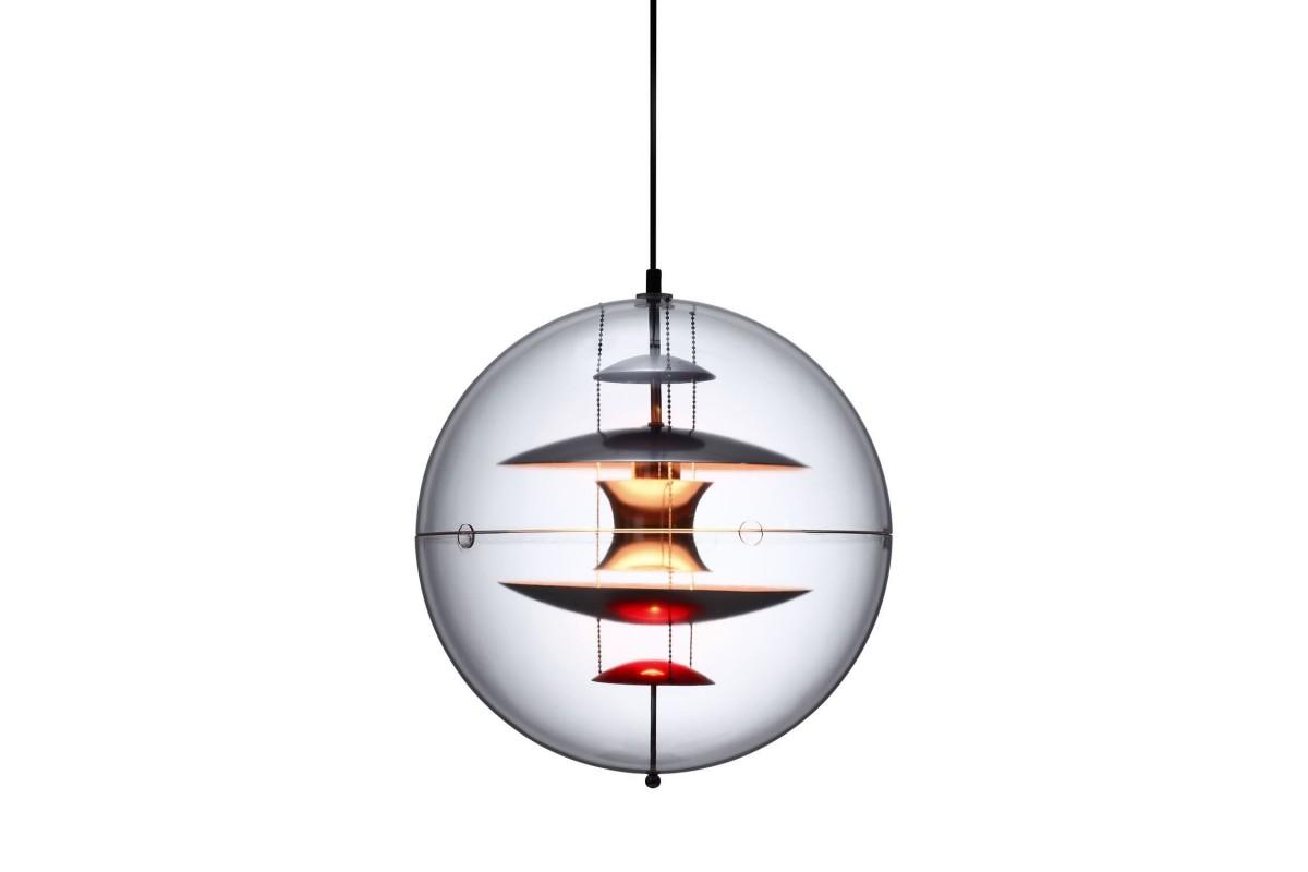 Lampada SPHERE-Transparent Crystal Inspiration Globe di Verner Panton