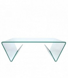 GLASS TRAPEZZO Coffee Table with magazine rack-Clear glass