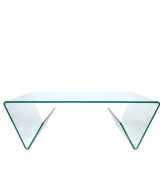 Mesa de centro glass trapezzo con revistero cristal transparente mobelium - Mesa centro transparente ...