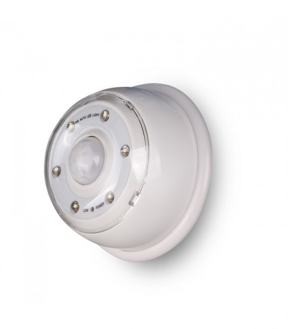 Luz 6 led con detector de movimiento blanco mobelium - Sensor de movimiento luz ...
