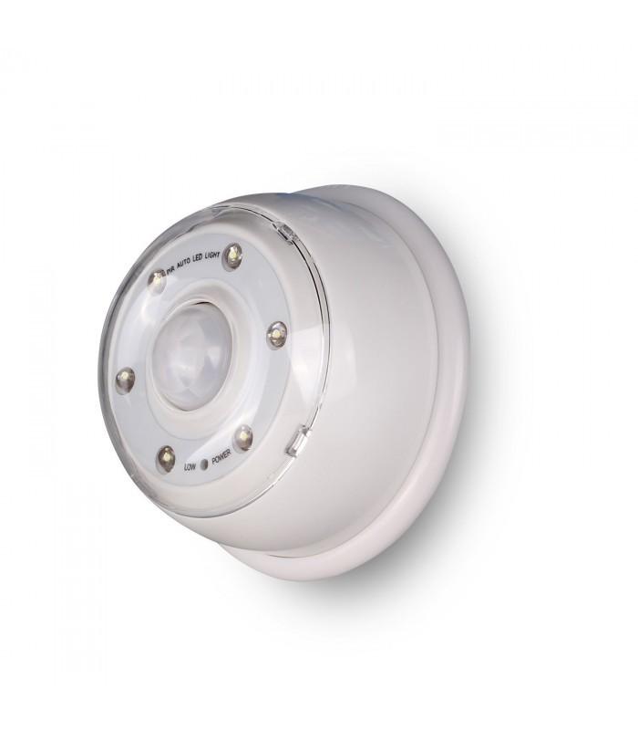 Luz 6 led con detector de movimiento blanco mobelium for Luz con detector de movimiento