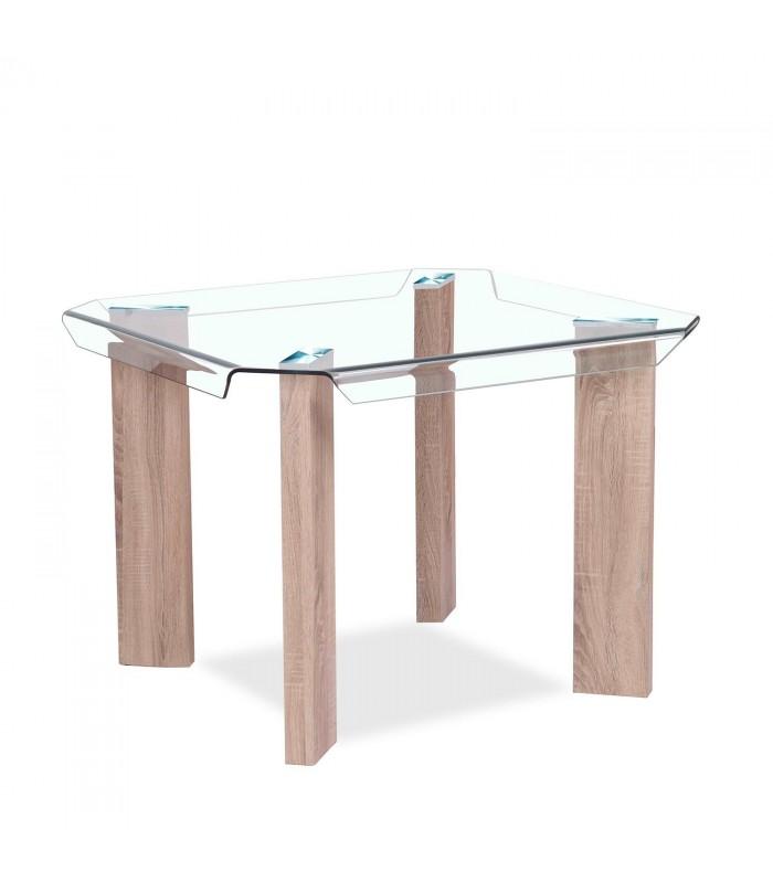 Mesa de comedor mocna cristal transparente mobelium for Mesas de comedor cristal transparente