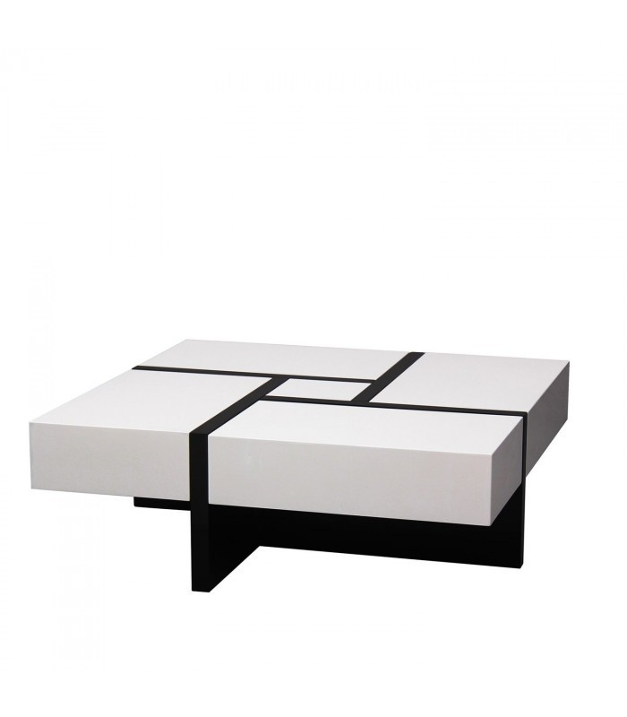 Mesa de centro extensible rubika blanco y negro mobelium - Mesas centro extensibles ...