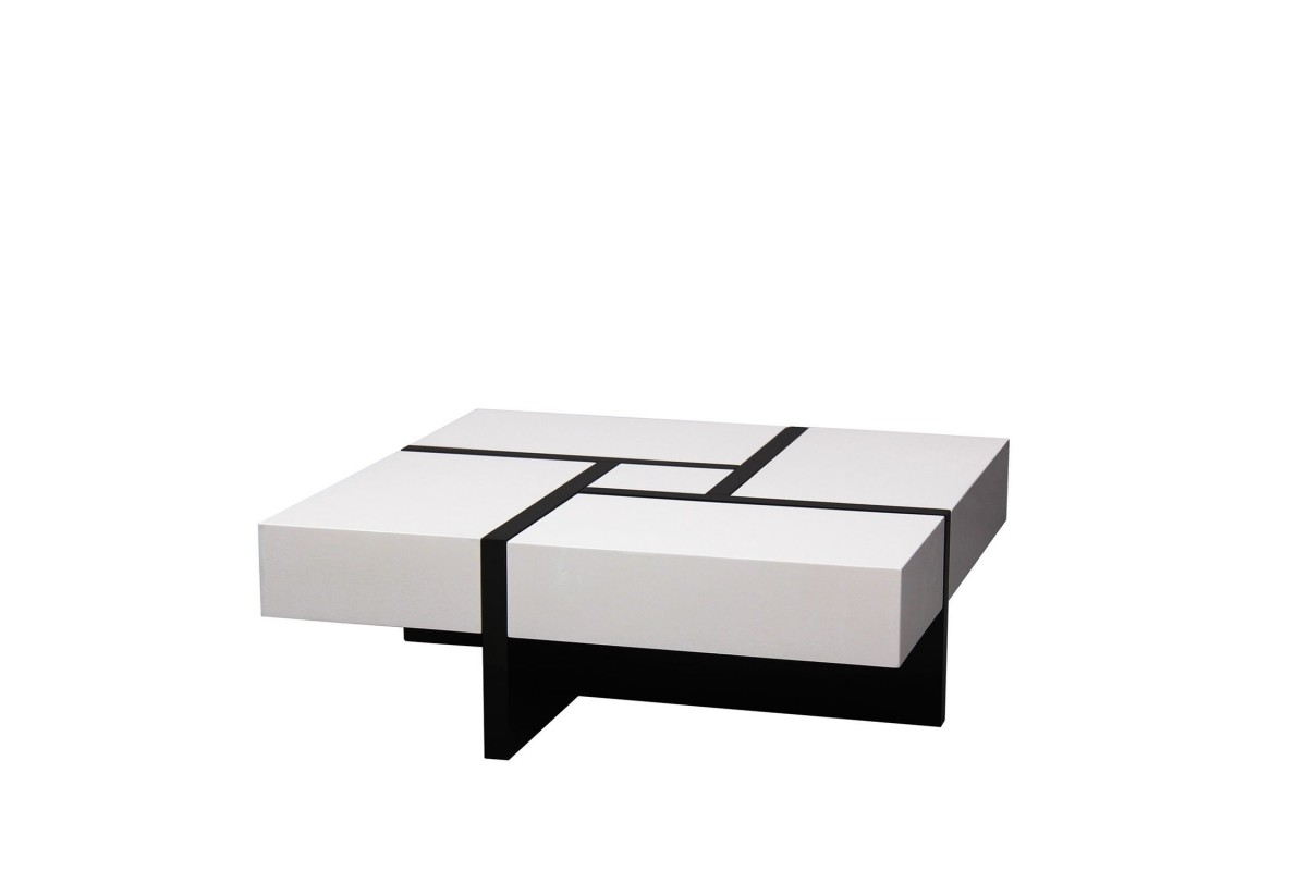 RUBIKA Extensible Coffee Table-Black and white