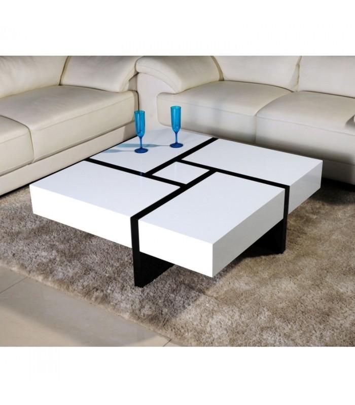 Mesa de centro extensible rubika blanco y negro mobelium - Mesa centro extensible ...