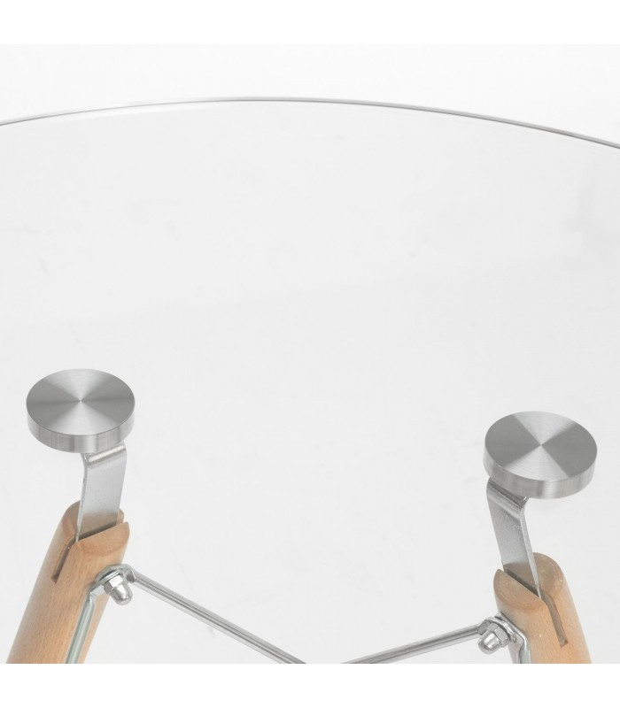 TENDAR Table -wood & glass--Clear glass Inspiración DSW de Charles & Ray Eames