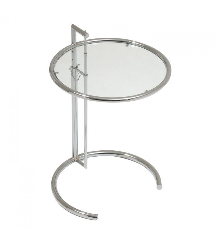 COFFEE GRAY Adjustable TableClear Glass Inspiración Eileen Gray - Eileen gray end table