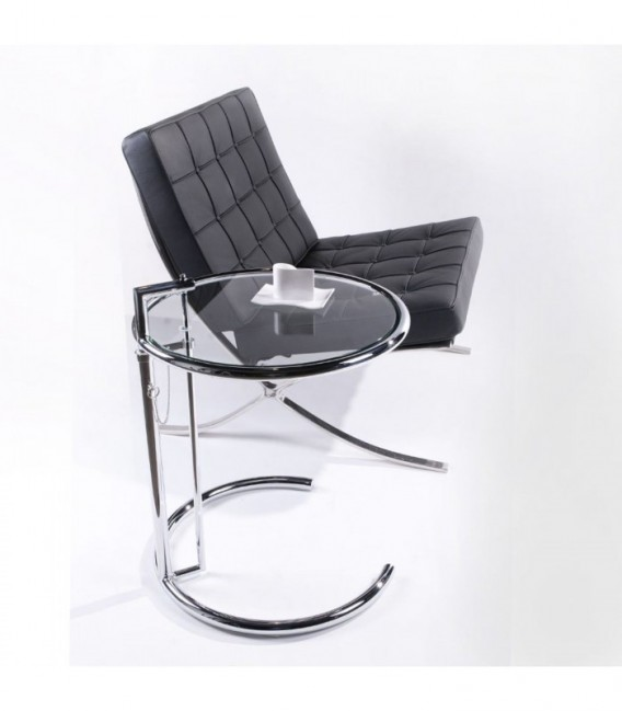 COFFEE GRAY Adjustable Table-Clear glass Inspiración Eileen Gray Coffee Table de Eileen Gray
