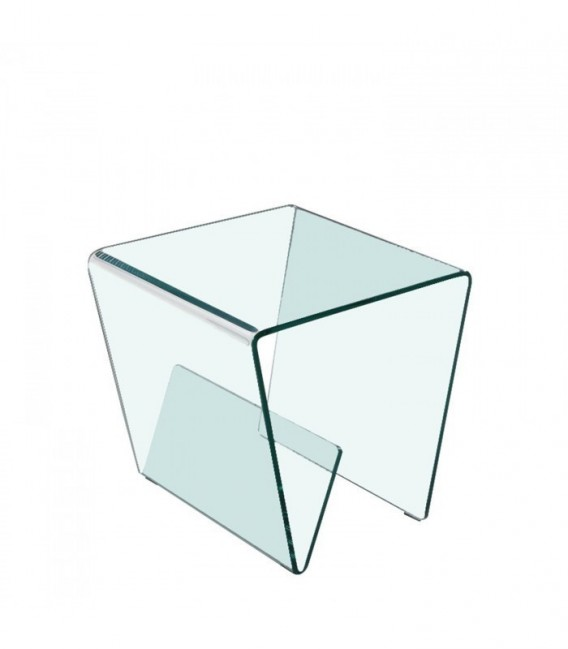 GLASS TRAPEZZO 2 Coffee Table -With magazine rack--Clear glass