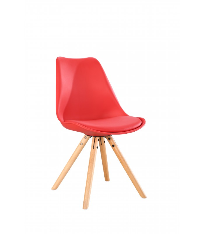 SCANDINAVIAN RED CHAIR WITH WOOD LEGS