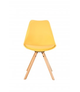 SCANDINAVIAN YELLOW CHAIR WITH WOOD LEGS