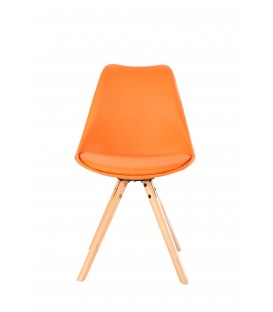 SCANDINAVIAN ORANGE CHAIR WITH WOOD LEGS
