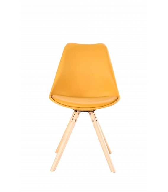 SCANDINAVIAN MUSTARD CHAIR WITH WOOD LEGS