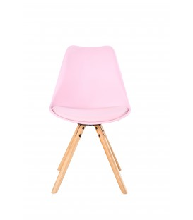 SCANDINAVIAN PINK CHAIR WITH WOOD LEGS