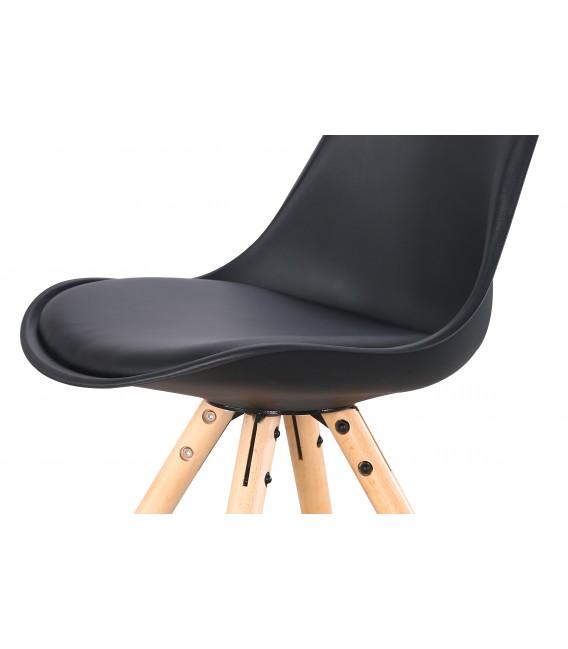 PACK X2 SCANDINAVIAN BLACK CHAIR WITH WOOD LEGS