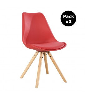PACK X2 SCANDINAVIAN RED CHAIR WITH WOOD LEGS
