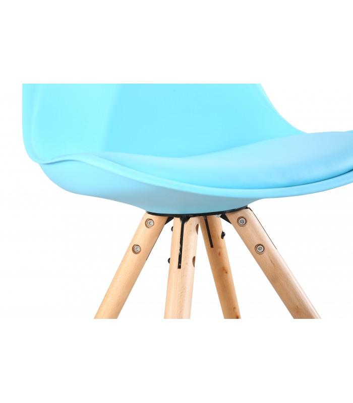 PACK X2 SCANDINAVIAN BLUE CHAIR WITH WOOD LEGS