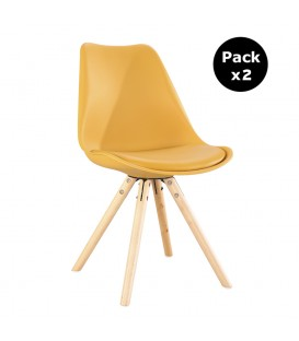 PACK X2 SCANDINAVIAN MUSTARD CHAIR WITH WOOD LEGS