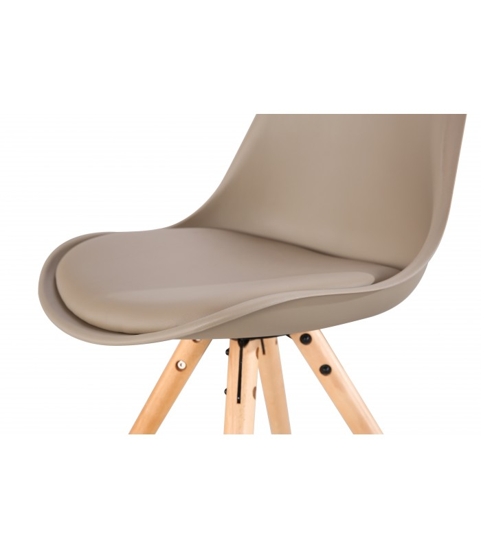 PACK X2 SCANDINAVIAN BEIGE CHAIR WITH WOOD LEGS