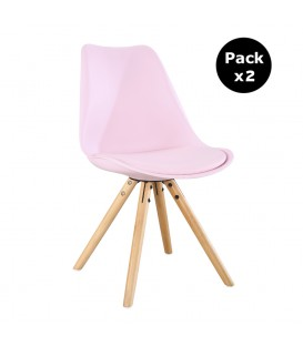 PACK X2 SCANDINAVIAN PINK CHAIR WITH WOOD LEGS