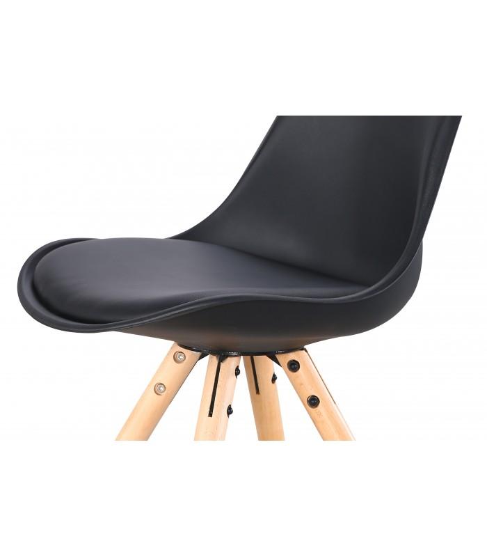 PACK X4 SCANDINAVIAN BLACK CHAIR WITH WOOD LEGS