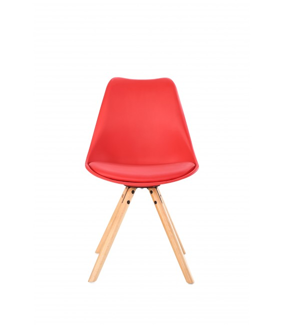 PACK X4 SCANDINAVIAN RED CHAIR WITH WOOD LEGS
