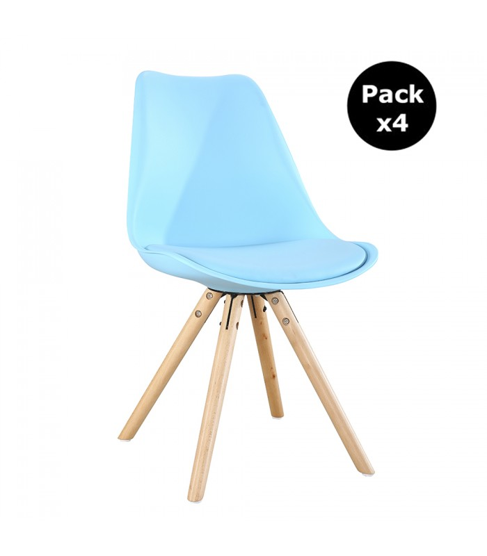 PACK X4 SCANDINAVIAN BLUE CHAIR WITH WOOD LEGS