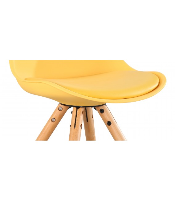 PACK X4 SCANDINAVIAN YELLOW CHAIR WITH WOOD LEGS