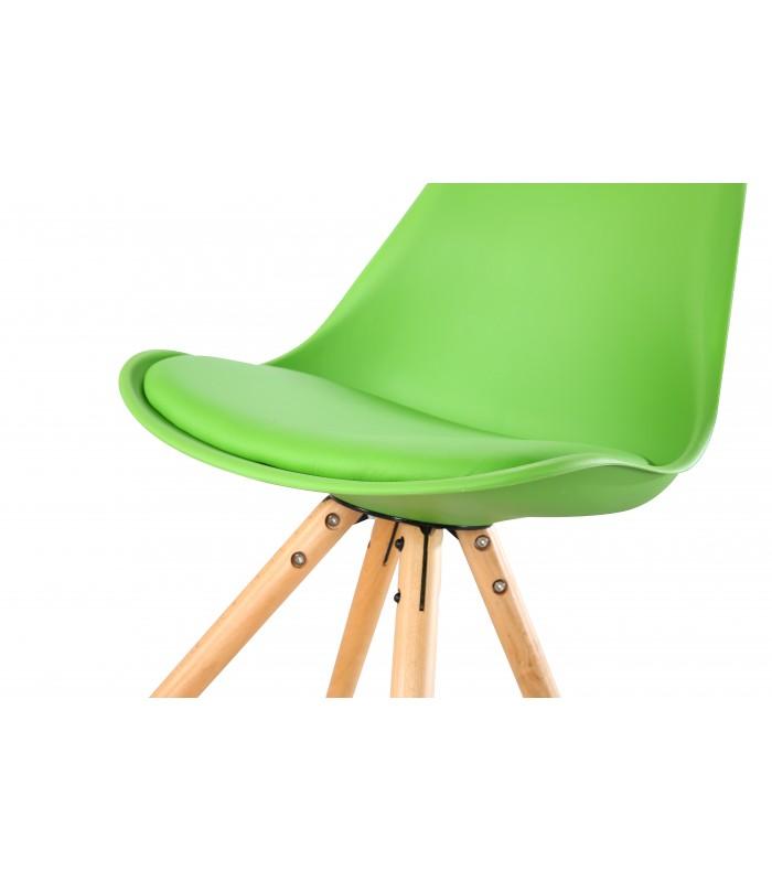 PACK X4 SCANDINAVIAN GREEN CHAIR WITH WOOD LEGS