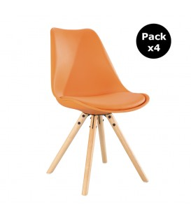 PACK X4 SCANDINAVIAN ORANGE CHAIR WITH WOOD LEGS