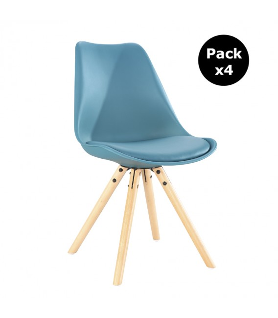 PACK X4 SCANDINAVIAN OCEAN CHAIR WITH WOOD LEGS